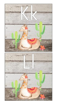 Llama and Cactus - Alphabet Cards and Word Wall Letters