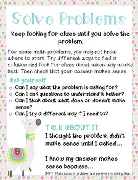 Cactus and Llama themed Mathematical Practices Poster set