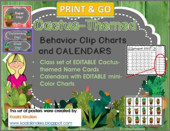 Cactus and Rustic Wood Behavior Clip Chart (Print and Go)