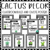 Cactus and Succulent Classroom Decor: Classroom Rules and Quote Posters
