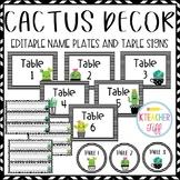 Cactus and Succulent Classroom Decor: Editable Name Plates