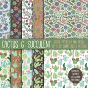 Cactus and Succulent Digital Paper Scrapbook Paper, Succul