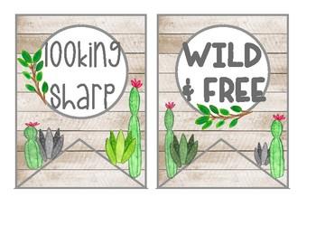 Cactus banner, watercolor cactus, cactus decor, cactus quotes, cactus classroom