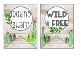 Cactus banner, watercolor cactus, cactus decor, cactus quo