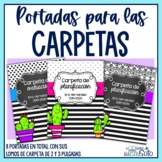 Cactus binder and spine covers Classroom decor  - Portadas de carpetas cactus