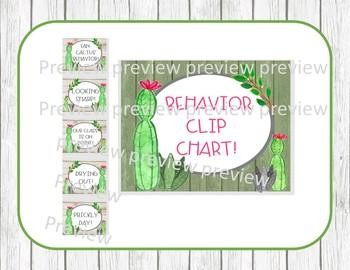 Cactus clip chart, watercolor cactus, cactus behavior clip chart, cactus decor