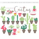 Cactus clipart - cactus clip art hand drawn cacti desert cactuses pots plants