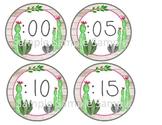 Cactus decor, cactus telling time, cactus minute labels, watercolor cactus