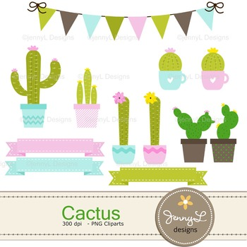 Cactus digital paper and clipart