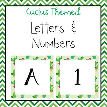 Cactus letters and numbers for bulletin board, calendars, & class management