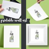 Cactus poster printable, be still, modern minimalist wall art