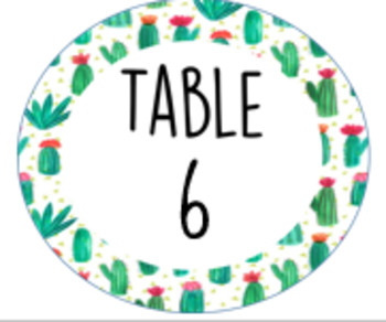 Cactus table 1-6 labels