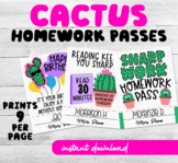 Cactus Themed Homework Passes for Welcome back to school