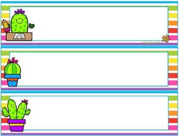 Cactus theme Nameplates (lines)