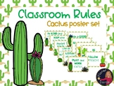 Cactus theme classroom rules poster set