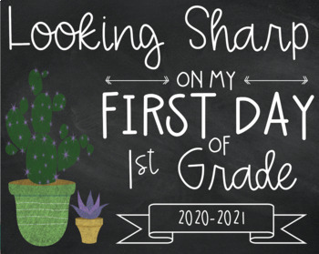 Cactus-themed Back-to-School Signs for K-5