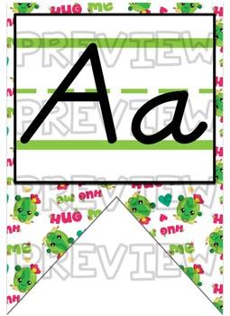 Cactus themed D'nealian print Alphabet Strip Banner