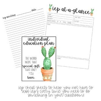 Cactus themed Editable Secondary teacher planner