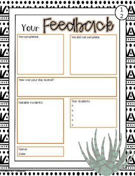 Cactus-themed Editable Substitute Handbook