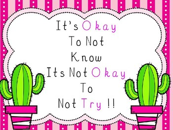 Cactus themed Its okay not to know poster