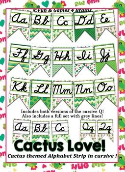 Cactus themed cursive Alphabet banner