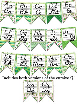 Cactus themed print and cursive Alphabet banner