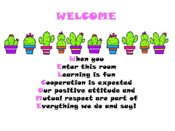 Cactus welcome Poster