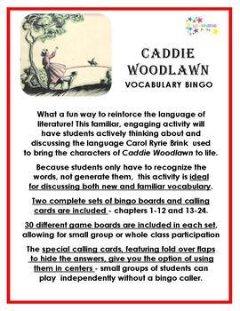 Caddie Woodlawn Vocabulary Bingo