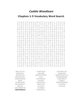 Caddie Woodlawn Vocabulary Word Search Packet (Ch 1-24) - Brink