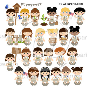 Cadette Girl scout NEW clipart+paper