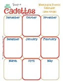 Cadette Yearly Calendar Girl Scouts Editable Printable PDF Template