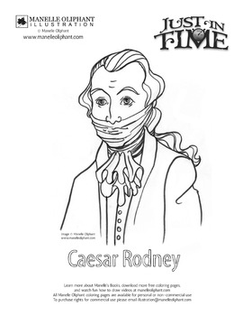 Caesar Rodney Coloring Page for Delaware