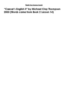 Caesar's English Book II Lesson 14 Homework