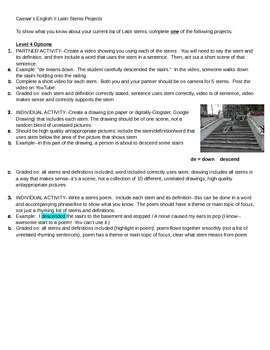 Caesar's English II Latin Stems List Projects - Tiered and Differentiated