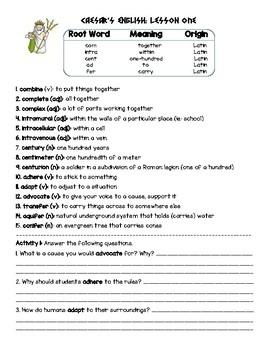 Caesar's English II Lesson 1 Practice