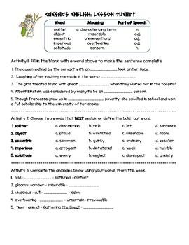 Caesar's English II Lesson 20 Practice