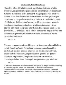 Caesar's Gallic Wars Book 6 Essay Prompt