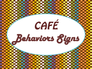 Cafe Daily 5 Behaviors Posters/Signs (Chocolate Rave Theme)