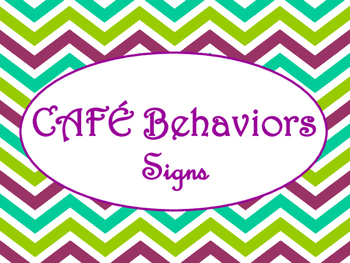 Cafe Daily 5 Behaviors Posters/Signs (Purple Green Chevron Theme)