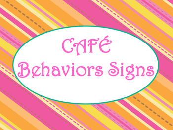Cafe Daily 5 Behaviors Posters/Signs (Tangerine Hot Pink Theme)