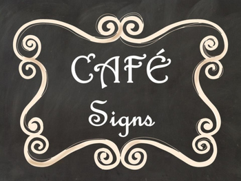 Cafe Daily 5 Bulletin Board Posters/Signs (Black Chalkboard/Curly Frames Theme)