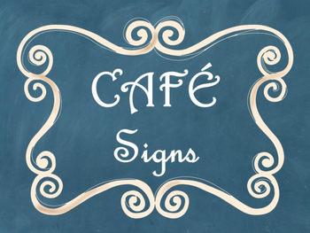 Cafe Daily 5 Bulletin Board Posters/Signs (Blue Chalkboard/Curly Frames Theme)