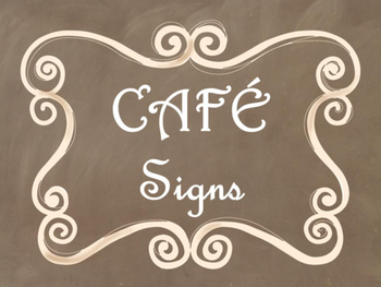 Cafe Daily 5 Bulletin Board Posters/Signs (Brown Chalkboard/Curly Frames Theme)