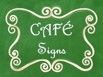 Cafe Daily 5 Bulletin Board Posters/Signs (Green Chalkboard/Curly Frames Theme)