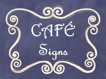 Cafe Daily 5 Bulletin Board Posters/Signs (Navy Chalkboard/Curly Frames Theme)