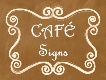 Cafe Daily 5 Bulletin Board Posters/Signs (Ombre Chalkboard/Curly Frames Theme)