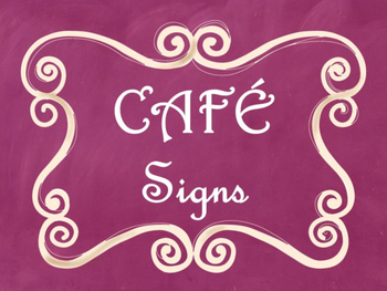 Cafe Daily 5 Bulletin Board Posters/Signs (Pink Chalkboard/Curly Frames Theme)