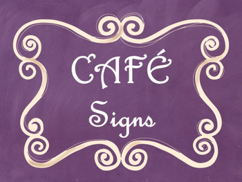 Cafe Daily 5 Bulletin Board Posters/Signs (Purple Chalkboard/Curly Frames Theme)