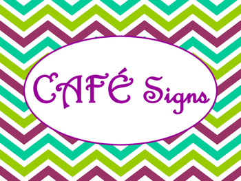 Cafe Daily 5 Bulletin Board Posters/Signs (Purple Green Chevron Theme)