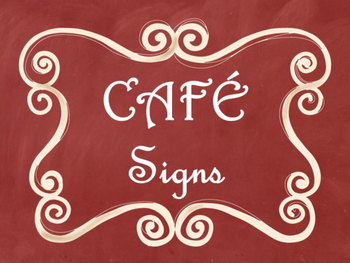 Cafe Daily 5 Bulletin Board Posters/Signs (Red Chalkboard/Curly Frames Theme)